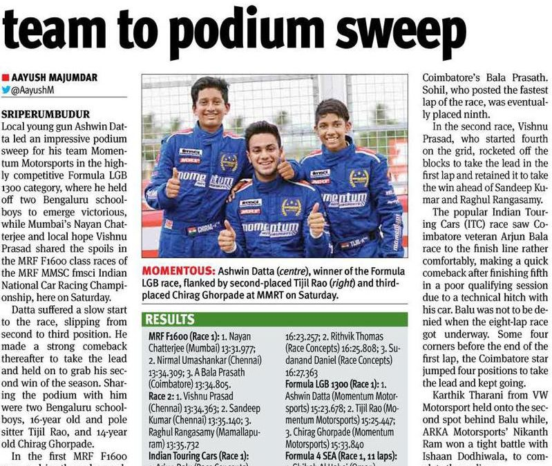 Ashwin Leads Momentum team to podium sweep